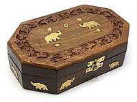 Деревянная шкатулка восьмигранная Слоны