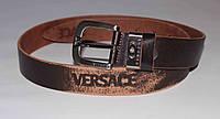 Ремень кожаный мужской Versace 01 Коричневый