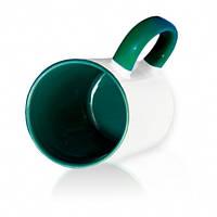 Чашка сублимационная зеленая 330мл(цветная внутри и ручка )