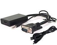 Конвертер с VGA на HDMI+AV (3,5) (коробка)