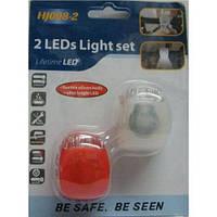 Набор велосипедных фонарей (передний+задний фонарь) 2 маячка HJ 008-2, светодиодный фонарик для велосипеда