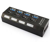 Адаптер разветвитель USB 3.0 на 4 порта USB 3.0 Hub 4 Ports Speed 5Gbps, фото 1