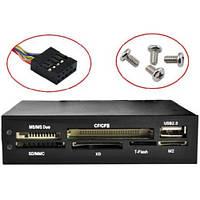 Внутренний кардридер 3.5, SD TF XD MS CF M2 + USB, USB 2.0