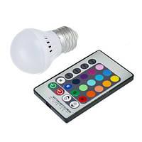 Светодиодная E27 RGB LED лампа 5Вт, 16 цветов с пультом ДУ