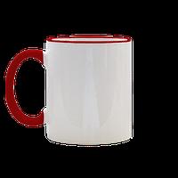 Чашка под сублимацию с цветной ручкой и ободком( красно-оранжевый цвет)