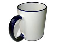 Чашка цветной ободок и ручка(черный)