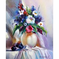 """Картина маслом """"Натюрморт с букетом цветов и сливами"""""""