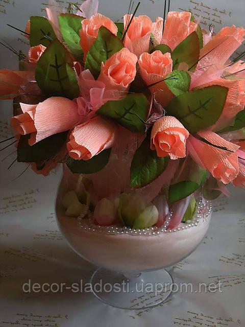 """Букет из конфет""""Розы в бокале"""""""