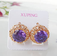 Серьги Xuping с фиолетовым круглым камнем с62