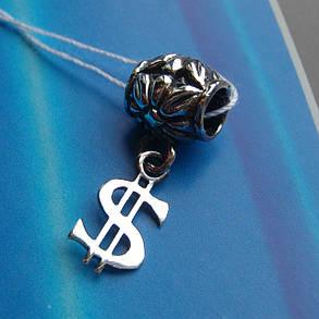 Шарм-подвеска серебряная Доллар для браслета Пандора, фото 2