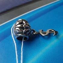 Шарм-подвеска серебряная Доллар для браслета Пандора, фото 3