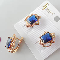Серьги цветок с синим камнем FJ FALLON позолота 18К
