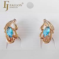 Серьги лепесток с голубым камнем Fallon английский  замок
