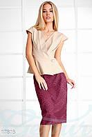 Женственный юбочный костюм. Цвет бежево-вишневый.