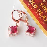 Серьги ромбик красный розовое золото штамп 18КGP