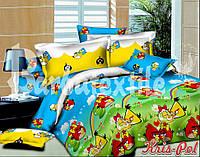 Постельное бельё полуторное Angry Birds Энгри Бердс 150*220 хлопок (4278) TM KRISPOL Украина