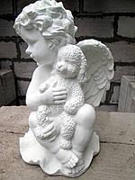 Скульптура Ангелочек с мишкой из бетона h=36 см
