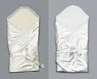 Атласный конверт-одеяло на выписку для новорожденных