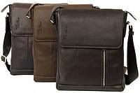 Брендовая мужская сумка из натуральной кожи Tom Stone 403 (Коричневый, черный, серый)