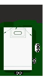 Пакеты с прорубной усил. ручкой 40х50/50 (банан) для шелкографии и трафаретной печати