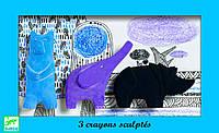 Набор фигурных мелков пастель Медведь, слон, носорог, DJECO (DJ08869)