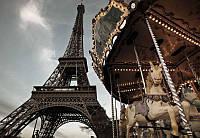 Фотообои на плотной полуглянцевой бумаге для стен 184*127 см из 1 листа: Карусель в Париже
