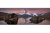 Фотообои на плотной полуглянцевой бумаге для стен 368*127 см из 4 листов: Закат в горах