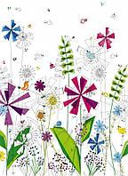 Фотообои на плотной полуглянцевой бумаге для стен 184*254 см из 4 листов: Веселые цветочные обои