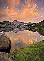 Фотообои на плотной полуглянцевой бумаге для стен 254*184 см из 4 листов: Горное озеро