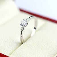 Кольцо женское помолвочное покрытие белое золото