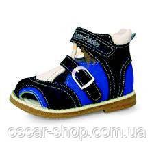 Сандалии детские ортопедические ОrtoBaby S2107 сине-черные, 22 размер