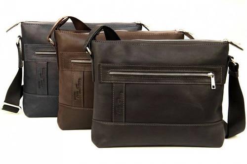 Оригинальная сумка из натуральной кожи Tom Stone 407 (Коричневый, черный, серый)