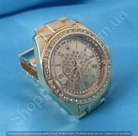 Часы Rolex B47 114389 женские золотистые в стразах диаметр 38 мм на металлическом браслете римские цифры