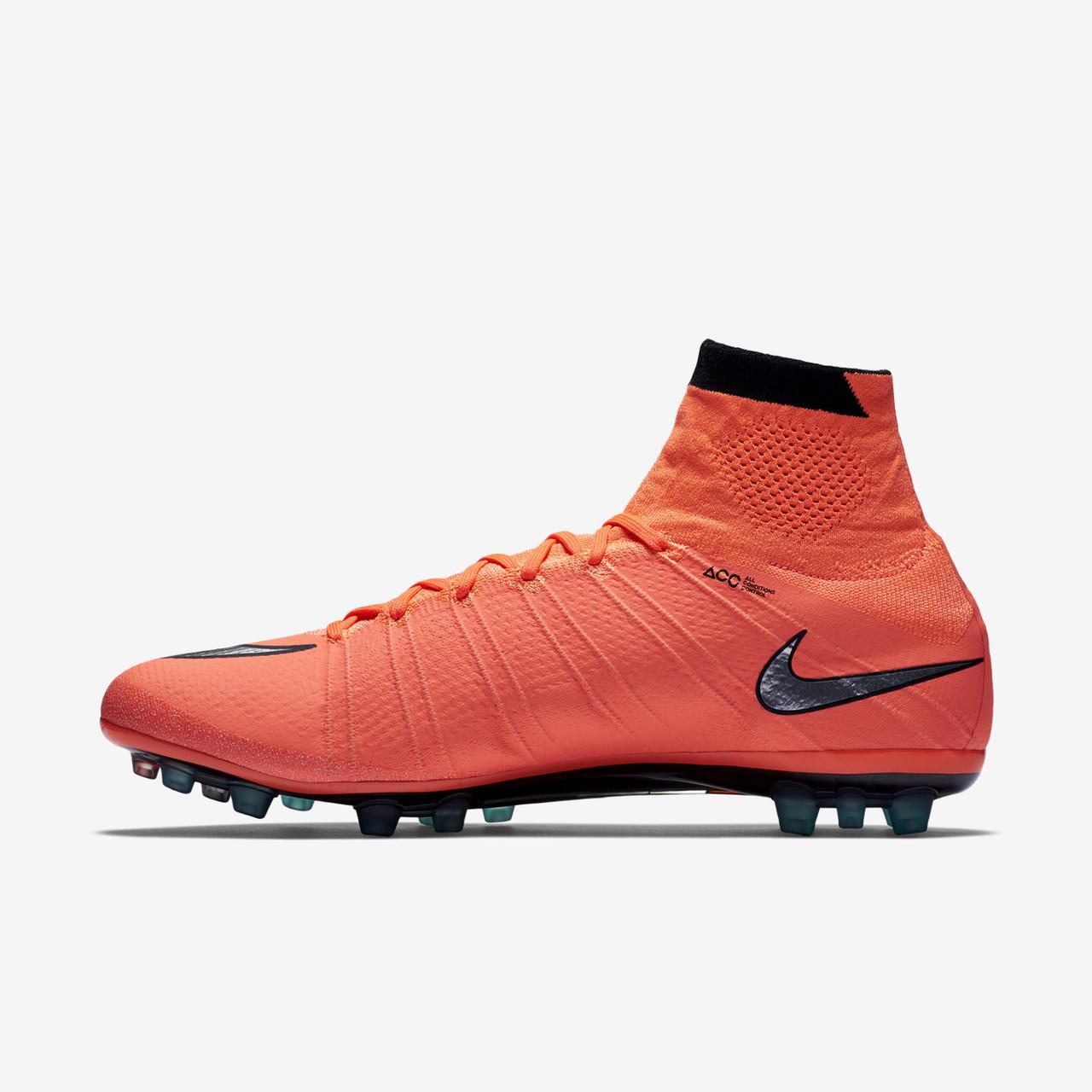 Футбольные бутсы Nike Mercurial Superfly AG-R Bright Mango Hyper Turquoise  Metallic Silver ae528e875af38