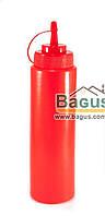 Диспенсер (бутылочка) 700 мл для соусов и сиропов с носиком пластиковый КРАСНЫЙ Empire (EM-7080)