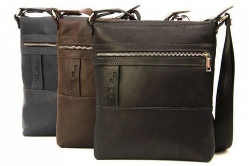 Повседневная мужская сумка из натуральной кожи Tom Stone 414 (Коричневый, черный, серый)