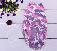 Пеленки на липучке теплые (Камуфляж розовый)