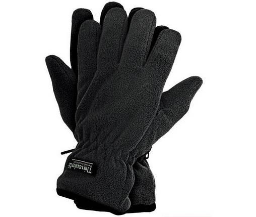 Перчатки чёрные флисовые с утеплителем Thinsulate, фото 2