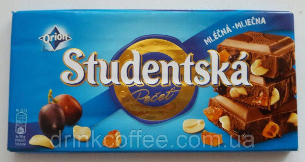 Шоколад ORION Studentska молочный с арахисом и изюмом, 180 г