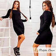Черное трикотажное платье на меху с длинным рукавом. Арт.- 8600/72
