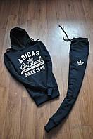 Спортивнывй костюм Адидас с капюшоном черного цвета
