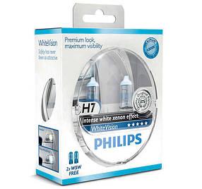 Галогенная лампа Philips White Vision H7 12V 55W +60% Германия 12972whvsm + подарок