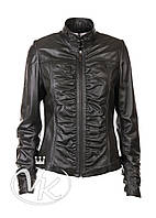 Кожана куртка женская с драпировкой (размер М)