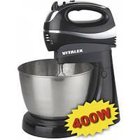 Миксер электрический с чашей Vitalex VT-5014, электрический миксер для кухни с чашей, стационарный миксер
