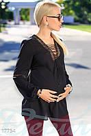 Свободная блуза для беременной. Цвет черный.