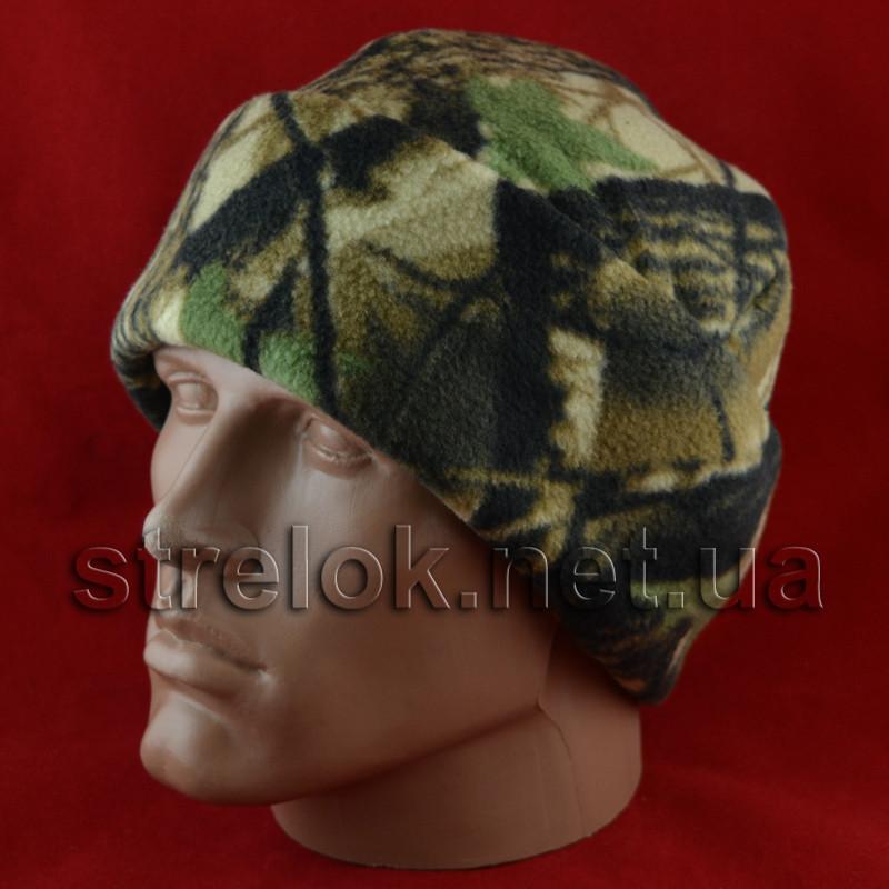Флісова Шапка (подвійна) лісовий камуфляж