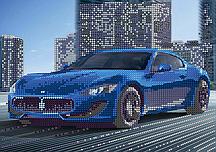 Схема для вышивки бисером POINT ART Синяя машина, размер 24х17 см
