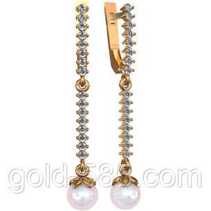 999add5aa793 Яркие длинные золотые серьги 585  с жемчугом - Мастерская ювелирных  украшений «GOLD-585