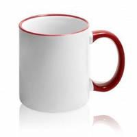 Чашка сублимационная (бордовая)с цветной ручкой и ободком (бордовый)