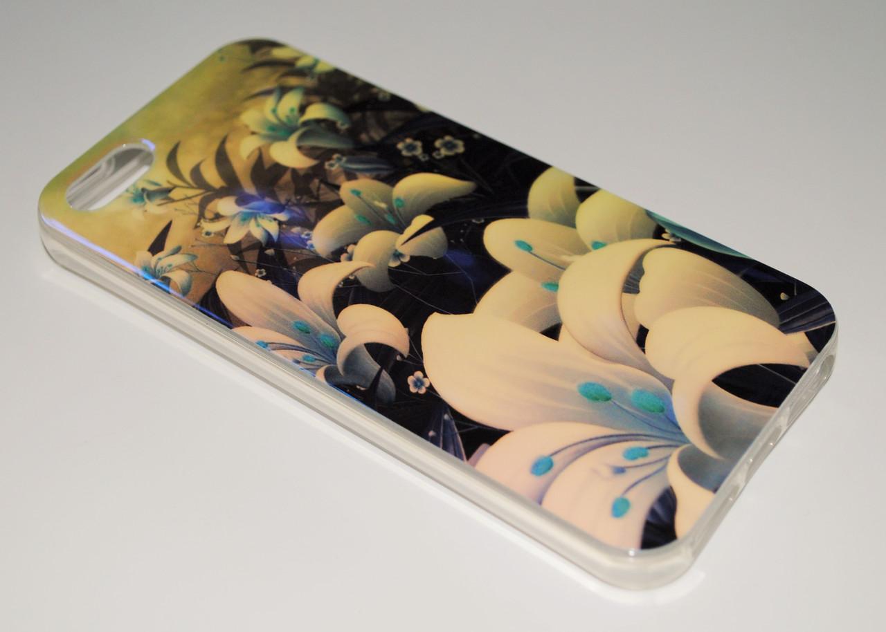 Чехол на Айфон 5/5s/SE Силикон перламутр Цветы